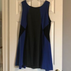 Color block dress blue gray and black
